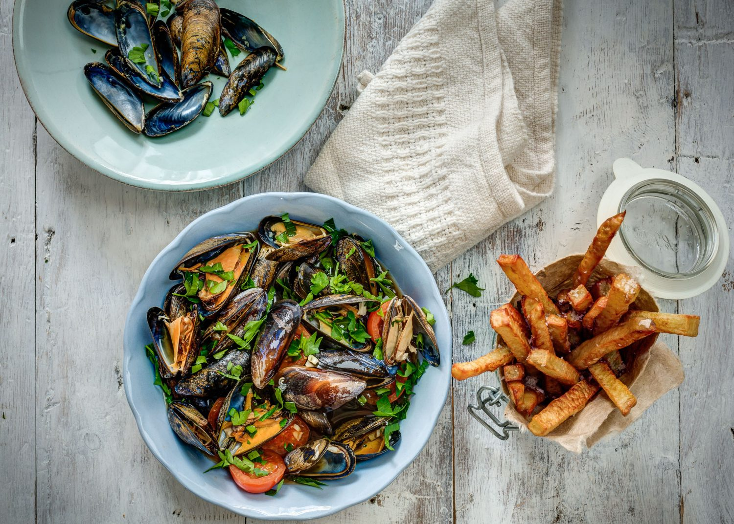 Slow Cooked Mussels and chips